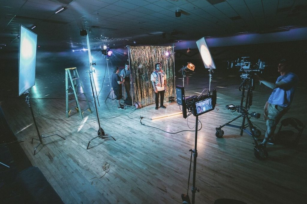 Commercial Studio Set with lighting recording spot on what is direct response marketing